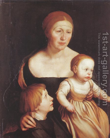 The Artist's Family 1528 by Hans, the Younger Holbein - Reproduction Oil Painting