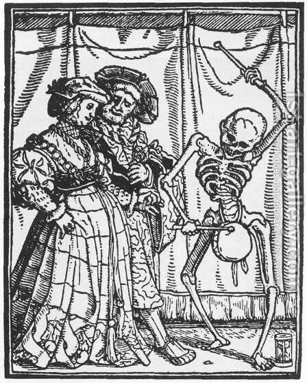 The Noble Lady from Dance of Death 1524-26 by Hans, the Younger Holbein - Reproduction Oil Painting