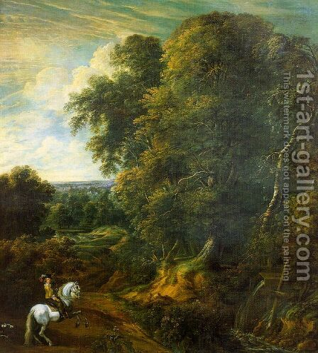 Landscape with a Horseman in a Clearing by Cornelis Huysmans - Reproduction Oil Painting