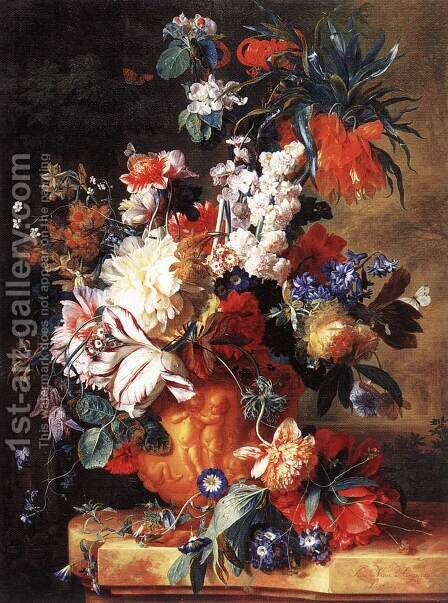 Bouquet of Flowers in an Urn 1724 by Jan Van Huysum - Reproduction Oil Painting