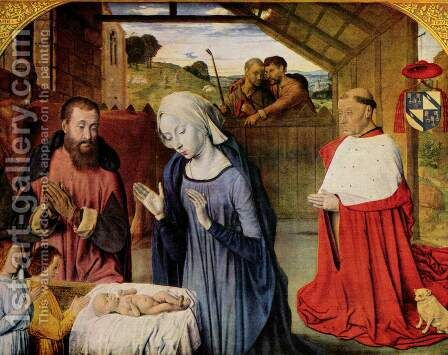 Nativity c. 1480 by Master of Moulins  (Jean Hey) - Reproduction Oil Painting