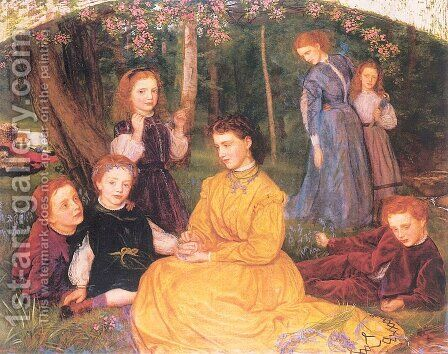 A Birthday Picnic 1866-67 by Arthur Hughes - Reproduction Oil Painting