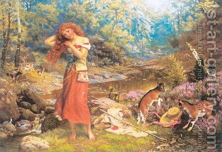 Audrey's Toilette  1870s by Arthur Hughes - Reproduction Oil Painting