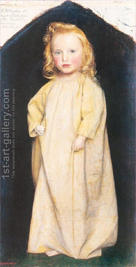 Edward Robert Hughes as a Child 1854-55 by Arthur Hughes - Reproduction Oil Painting