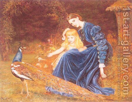 Mrs. Grant Duff and Adrian 1872-73 by Arthur Hughes - Reproduction Oil Painting