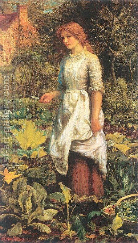 Phyllis 1887 by Arthur Hughes - Reproduction Oil Painting