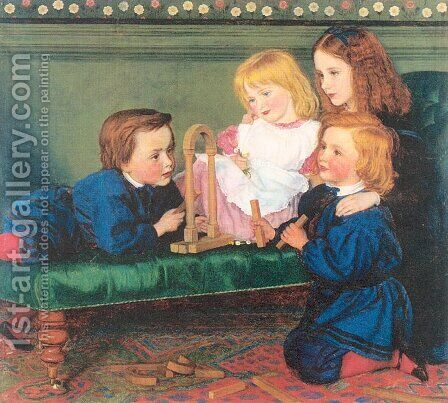 The Children of George Birkbeck Hill 1866 by Arthur Hughes - Reproduction Oil Painting
