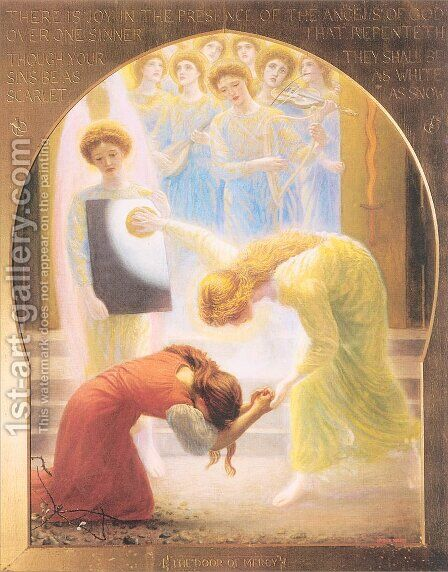 The Door of Mercy 1892-93 by Arthur Hughes - Reproduction Oil Painting