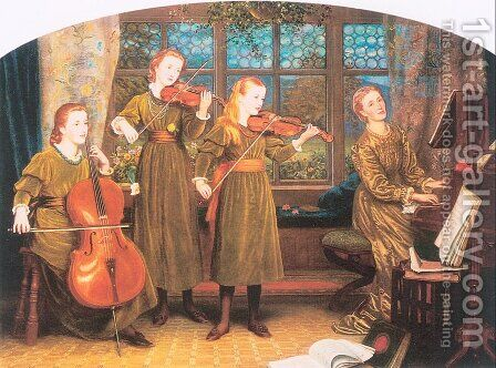 The Home Quartet (Mrs. Vernon Lushington and her Children) 1882-83 by Arthur Hughes - Reproduction Oil Painting