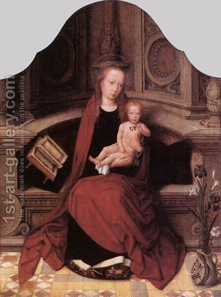 Virgin and Child Enthroned 1510s by Adriaen Isenbrandt (Ysenbrandt) - Reproduction Oil Painting