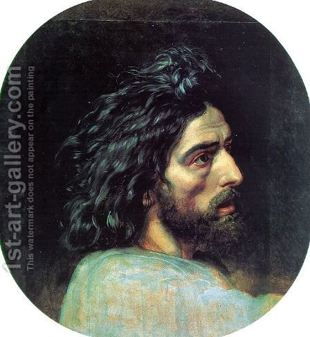 "John the Baptist's Head (study for the picture ""The Appearance of Christ before the People"" by Alexander Ivanov - Reproduction Oil Painting"