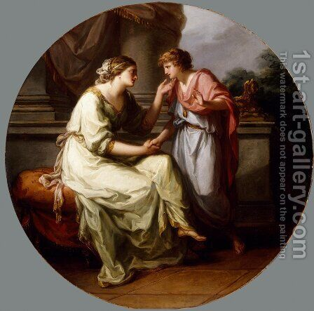 Papirius Pratextatus Entreated by his Mother to Disclose the Secrets of the Deliberations of the Roman Senate by Angelica Kauffmann - Reproduction Oil Painting