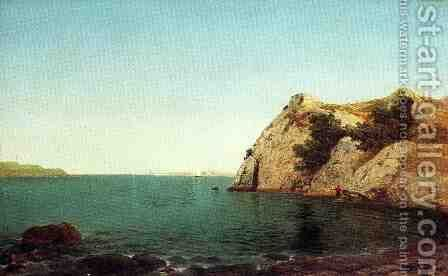 Beacon Rock at Newport Harbor  1857 by John Frederick Kensett - Reproduction Oil Painting