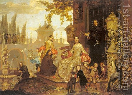 Portrait of a Family in a Garden  1680 by Jan van, the Younger Kessel - Reproduction Oil Painting