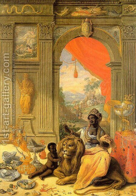 Africa (central panel, detail) 1664-66 by Jan van Kessel - Reproduction Oil Painting