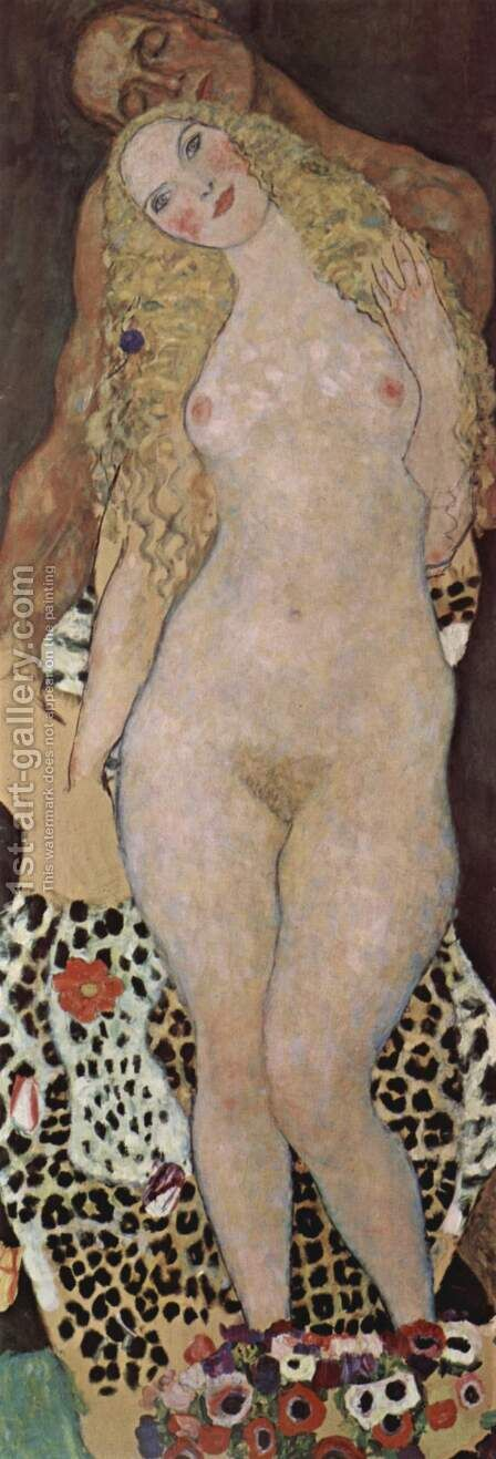 Adam and Eve  (unfinished) 1917-18 by Gustav Klimt - Reproduction Oil Painting