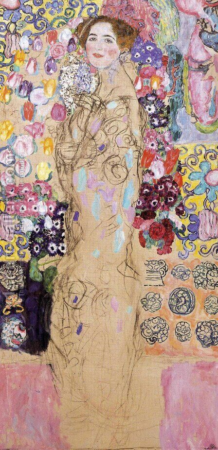Portrait of a Lady  (unfinished) 1917-18 by Gustav Klimt - Reproduction Oil Painting