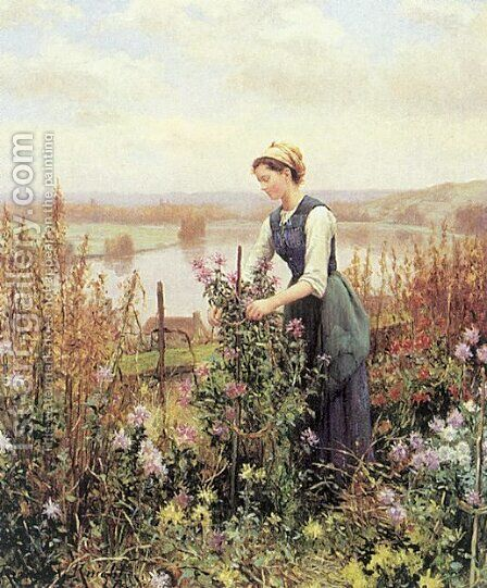 Arranging Flowers by Daniel Ridgway Knight - Reproduction Oil Painting