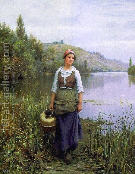 By the Riverside by Daniel Ridgway Knight - Reproduction Oil Painting