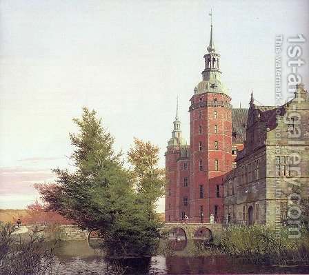 Frederiksborg Castle Seen from the Northwest  1836 by Christen Kobke - Reproduction Oil Painting