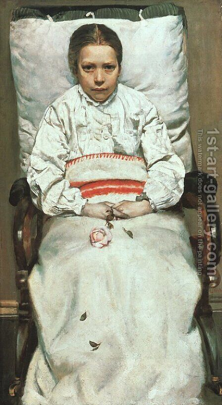 The Sick Girl  1880-81 by Christian Krohg - Reproduction Oil Painting