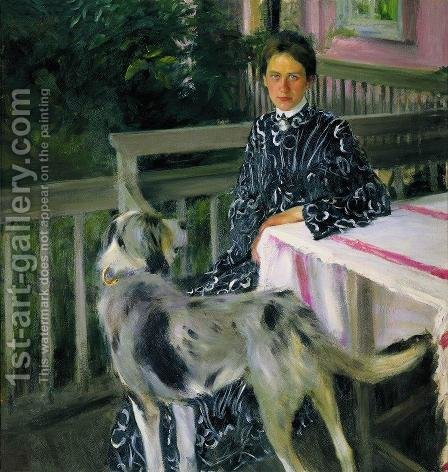 Portrait of Julia Kustodieva, the Artist's Wife  1903 by Boris Kustodiev - Reproduction Oil Painting