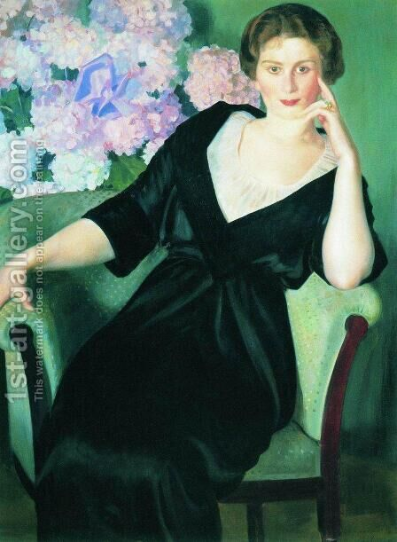 Portrait of Renee Notgaft  1914 by Boris Kustodiev - Reproduction Oil Painting