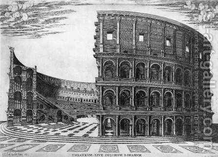The Colosseum in Rome 1564 by Antonio Lafreri - Reproduction Oil Painting