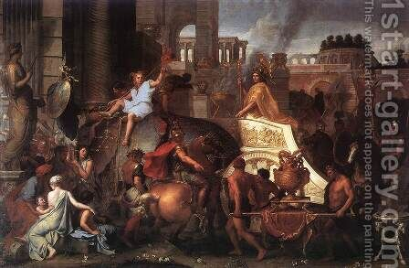Entry of Alexander into Babylon c. 1664 by Charles Le Brun - Reproduction Oil Painting