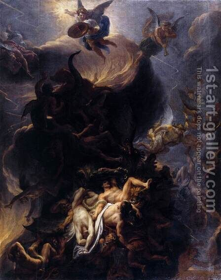 The Fall of the Rebel Angels  1685 by Charles Le Brun - Reproduction Oil Painting