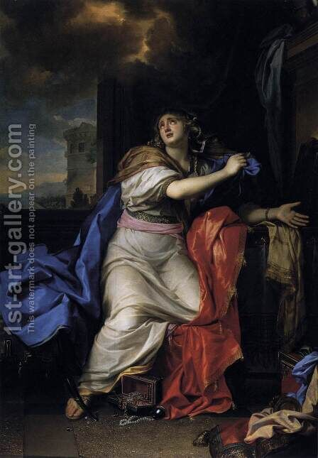 The Repentant Magdalen 1655 by Charles Le Brun - Reproduction Oil Painting