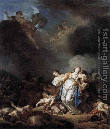 Apollo and Diana Attacking Niobe and her Children  1772 by Anicet-Charles-Gabriel Lemonnier - Reproduction Oil Painting