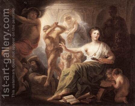 Hercules Protects Painting from Ignorance and Envy  1763 by Andries Cornelis Lens - Reproduction Oil Painting