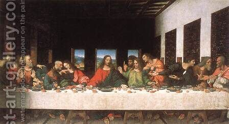 Last Supper (copy) 16th century by Leonardo Da Vinci - Reproduction Oil Painting