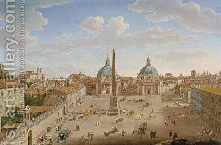Roma- Piazza del Popolo 1750 by Hendrik Frans van Lint (Studio Lo) - Reproduction Oil Painting