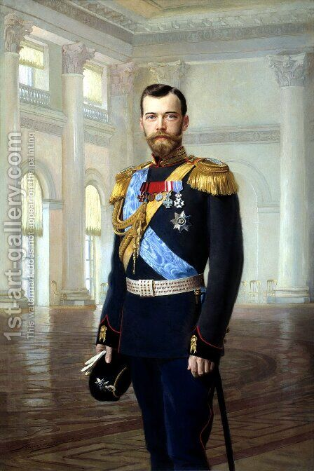Emperor Nicholas II   1900s by Earnest Lipgart - Reproduction Oil Painting