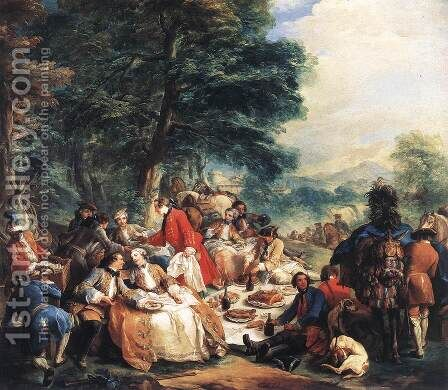 Halt During the Hunt 1737 by Carle van Loo - Reproduction Oil Painting
