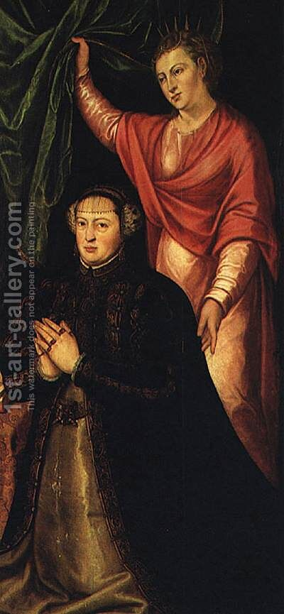 Portrait of Queen Catherine of Austria c. 1550 by Cristovano Lopes - Reproduction Oil Painting