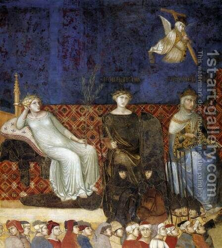 Allegory of the Good Government (detail-1) 1338-40 by Ambrogio Lorenzetti - Reproduction Oil Painting