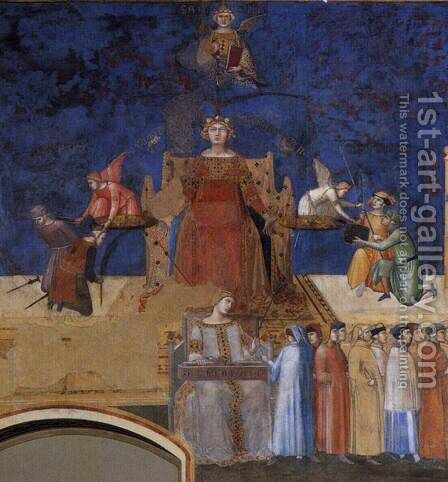 Allegory of the Good Government (left view, detail) 1338-40 by Ambrogio Lorenzetti - Reproduction Oil Painting