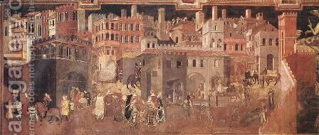 Effects of Good Government on the City Life (detail-1)  1338-40 by Ambrogio Lorenzetti - Reproduction Oil Painting