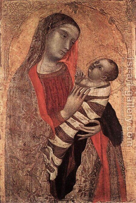 Madonna and Child 1340-45 by Ambrogio Lorenzetti - Reproduction Oil Painting
