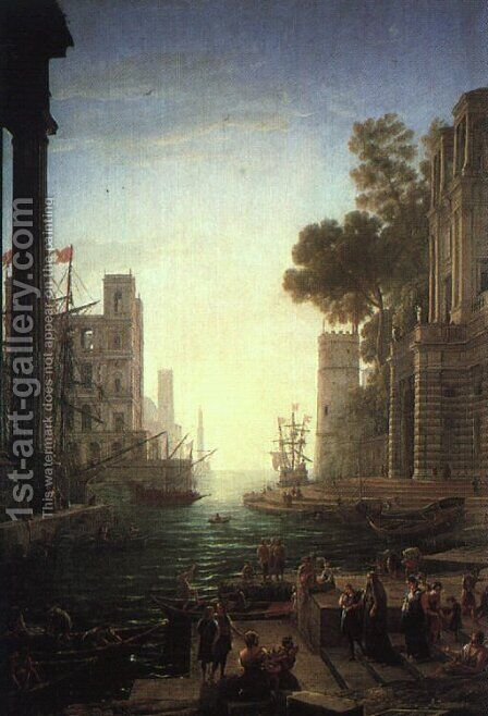 Landscape with the Embarkation of Saint Paula Romana at Ostia  1639 by Claude Lorrain (Gellee) - Reproduction Oil Painting