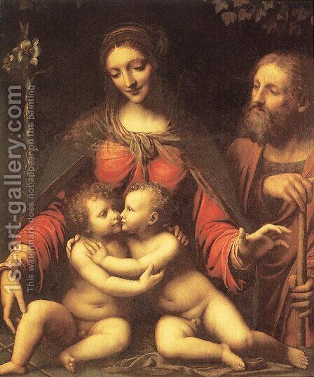 Holy Family with the Infant St John by Bernardino Luini - Reproduction Oil Painting