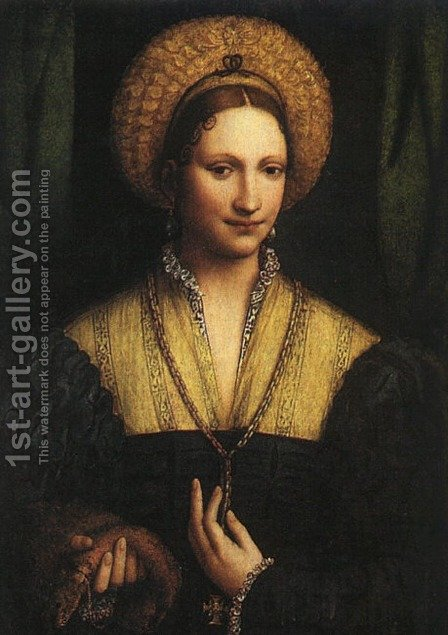 Portrait of a Lady c. 1525 by Bernardino Luini - Reproduction Oil Painting