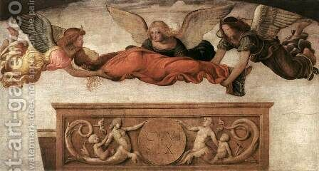 St Catherine Carried to her Tomb by Angels 1520-23 by Bernardino Luini - Reproduction Oil Painting