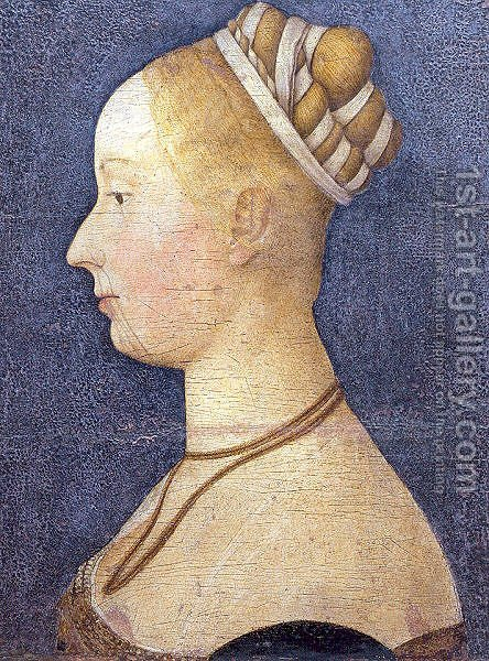 Small Female Portrait Attributed to Angelo Maccagnino  1475 by Angelo Maccagnino - Reproduction Oil Painting