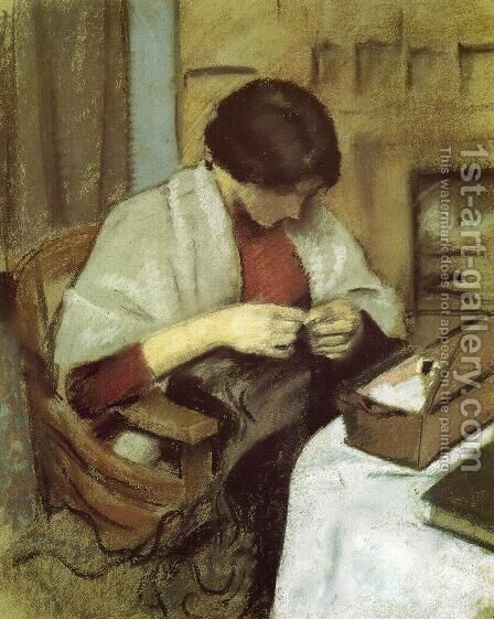 Elisabeth Gerhardt Sewing (Elisabeth Gerhardt Nahend)  1909 by August Macke - Reproduction Oil Painting
