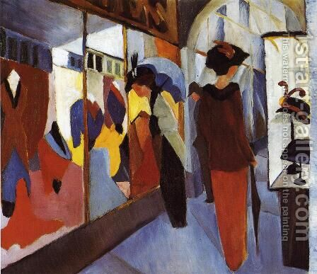Fashion Shop (Modegeschaft) 1913 by August Macke - Reproduction Oil Painting