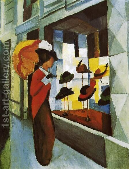 Hat Shop (Hutladen)  1914 by August Macke - Reproduction Oil Painting